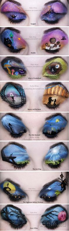 disney themed eye makeup. That's crazy that someone would take the time to do that lol