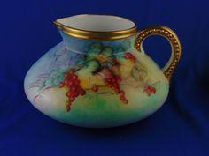 "Classic Bavaria Arts & Crafts Currant Motif Pitcher (Signed ""Edythe C. Keckley""/c.1910-1940)"