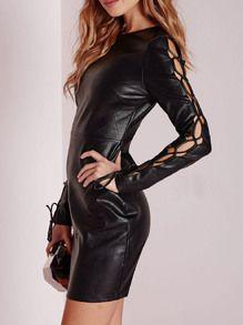 Black Lace Up Sleeve PU Leather Dress