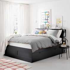 BRIMNES Bed frame with storage & headboard, black, Luröy, Queen. A bed frame with hidden storage in several places – perfect if you live in a small space. The BRIMNES series has several smart solutions that help you save space. Bed Frame With Storage, Bed Storage, Storage Spaces, Storage Headboard, Bed Frame With Drawers, Large Drawers, Queen Beds With Storage, Ikea Beds With Storage, Ikea Bed Headboard