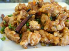Kkanpunggi, fried chicken glazed in sweet and spicy sauce.