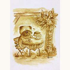 classy pug high tea time #illustration #painting #coffeepainting #coffeeart #pug #drawing #art #watercolour #dog #puppy #hightea #nicipug #coffee
