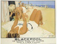 Blackpool, for sunshine, ozone and pleasure - LMS - (Septimus Scott) - Paris Travel, Travel Uk, Blackpool England, Nostalgia, London Transport, Public Transport, British Travel, Seaside Holidays, Advertising Poster