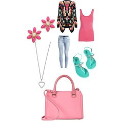 Pink Daises by money-baby-1 on Polyvore featuring polyvore, fashion, style, Pieces, Object Collectors Item, Ally Fashion, Victoria Beckham, Kate Spade and Yves Saint Laurent