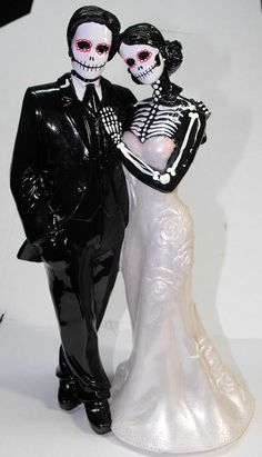 Design it Yourself - Day of the Dead Wedding Cake Topper With No Veil - 12 inches - Custom Colors. $80.00, via Etsy.