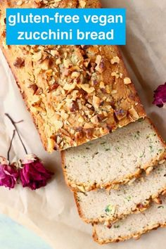 This Gluten-Free Vegan Zucchini Bread is seriously moist, perfectly dense and subtly fragrant. Great for breakfast, dessert or a snack! Healthy Vegan Snacks, Delicious Vegan Recipes, Vegan Sweets, Vegan Desserts, Vegetarian Recipes, Tasty, Vegan Food, Dinner Healthy, Healthy Meals