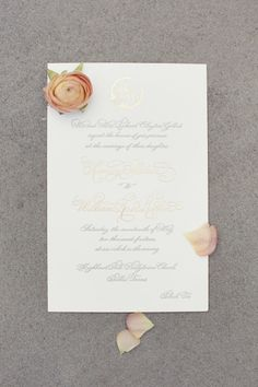 Elegant wedding invitations: http://www.stylemepretty.com/little-black-book-blog/2015/01/14/elegant-peach-dallas-wedding/ | Photography: Sarah Kate - http://sarahkatephoto.com/