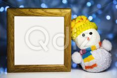 Qdiz Stock Photos | Christmas snowman toy and blank wooden frame,  #backdrop #background #blank #blur #blurred #celebration #Christmas #clear #closeup #decoration #doll #empty #eve #figure #frame #fun #funny #greeting #hat #holiday #light #little #Merry #new #scarf #small #snowman #toy #traditional #white #wood #wooden #xmas #year #yellow
