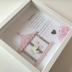 A stunning glitter carousel with glitter horse and personalised baby girl verse We can add names dates weight or christening details etc Complete in 3d Box Frames, Box Frame Art, New Baby Crafts, Diy Crafts For Girls, Personalised Frames, Handmade Frames, Personalised Baby, Christening Frames, Diy Shadow Box