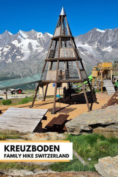 Kreuzboden is a great destination for families in the Saastal region Switzerland with a big alpine playground, sensory theme trail, mountain scooters and beautiful panorama views. Directions and tips for your visit in our blog post. Cold Water Bath, Best Of Switzerland, Swiss Travel Pass, Bouldering Wall, Hiking Europe, Stay Overnight, Hiking Trails, Scooters, Playground