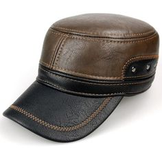 fd6c9782178bc Men Warm Earflaps PU Leather Flat Cap Outdoor Sports Trucker Baseball Cap  is hot sale on Newchic.