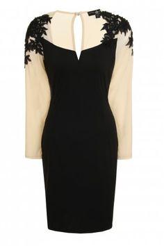8dfa1b37e0 Little Mistress Black Curvy Embellished Sleeve Pencil Dress.
