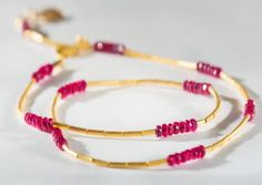 Handcrafted 24K yellow gold and ruby necklace by Gurhan #igorman #gurhan