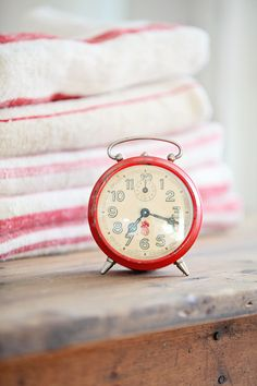 Vintage French Red Alarm Clock.  On the look out for a cute vintage red clock for Christmas display.