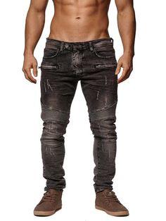F&S Men Slim Fit Denim Temp Biker Distressed Jeans - Washed Black - FASH STOP