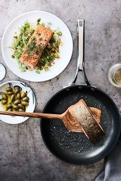 In this sous vide salmon recipe, brining the fish infuses it with lots of flavor. To minimize the prep time, purchase frozen shelled fava beans or edamame. Sous Vide Salmon Recipes, Salad Recipes, Healthy Recipes, Healthy Meals, Healthy Food, Sous Vide Cooking, Williams Sonoma, Fish And Seafood, Food Dishes