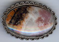 LARGE VINTAGE NAVAJO INDIAN STERLING SILVER PETRIFIED WOOD AGATE PIN
