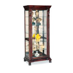 kerio cabinet | Curio Cabinet with Ornate Edges in Dark Brown