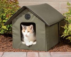 Provide your Outdoor Cat with some protection from the elements this winter with this Heated Outdoor Cat House. This Kitty Condo is made of 600 Denier Nylon that has a vinyl backing (which makes it Water Resistant) to keep your pets dry and comfy. Heated Cat House, Heated Outdoor Cat House, Outdoor Cat Shelter, Outdoor Cats, Indoor Outdoor, Outside Cat House, Feral Heart, Cat House Diy, Kitty House
