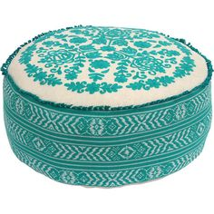 Stylist's Tip: From ottoman to extra seating, there's nothing this embroidered cotton pouf can't do. Pull it up to your coffee table to create an inviting co...