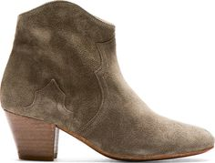 Isabel Marant - Olive Suede Dicker Ankle Boots