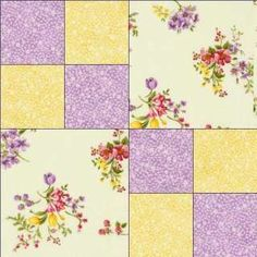 Yellow Lavender Floral Fabric Pre cut Quilt Quilting Kit Block