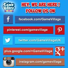 #SocialMedia, We are on other platforms too, check out the infographic and you could follow us there too! Watch out for facebook.com/GameVillage as we have contests running there to win free prizes.  #instagram #facebook #google #twitter #social #friends