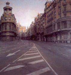 Antonio Lopez Garcia, Gran Via, Antonio Garcia, Joseph Zbukvic, Street Art, Street View, Spanish Painters, Urban Landscape, Landscape Paintings, Landscapes, Art Gallery