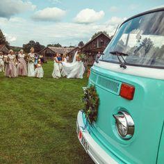 boho  barn wedding, outdoor, vintage volkswagen