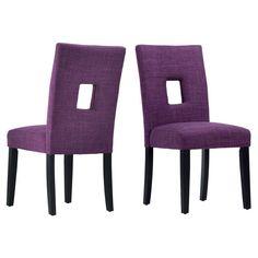 Homelegance Upholstered Keyhole Dining Side Chair - Set of 2 Purple