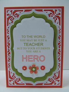 Stampin Up Handmade Greeting Card: Teacher Appreciation Card, Teacher Thank You Card, Teacher Gift, Gift for Teacher, Embossed