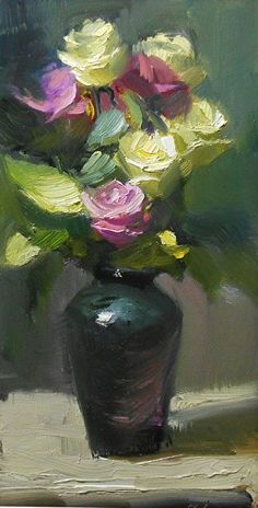 Lavender and Yellow Roses by Kelli Folsom Oil ~ 6 x 12