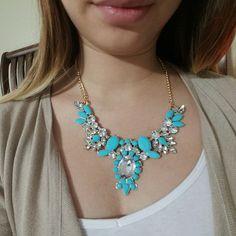 Statement blue rhinestone necklace Blue rhinestone necklace Jewelry Necklaces
