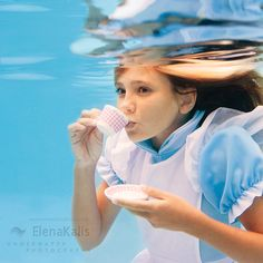 """Underwater photography by Elena Kalis on the """"Alice in Wonderland"""" theme. Alice In WaterLand Underwater Photographer, Underwater Photos, Underwater World, Breathing Underwater, Photos Sous-marines, Photos Of Women, Photographs, Epic Photos, Amazing Photos"""