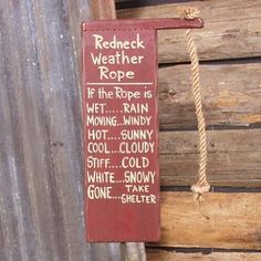 Amazon.com: Redneck Weather Predictor Forecast Rope Wood Sign Rain Wind Sun Cloudy Snow: Home & Kitchen