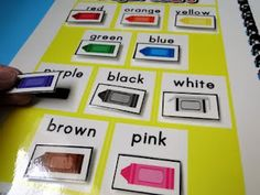 Fun. hands-on way to teach color words to the little ones. :)