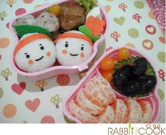 Cute and easy - nori for face and ketchup cheeks :)
