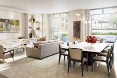 In the great room of a model home in the Chamberlain, a building on Manhattan's Upper West Side, Champalimaud sought to create spaces that would accommodate both formal entertaining and informal living. Photo courtesy of the Chamberlain