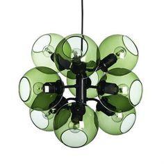 Tage hanglamp zwart-groen glas