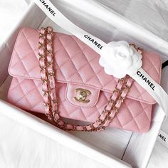 Opulent Habits on Still available! Gorgeous and authentic Chanel Pink Iridescent Medium Flap with shiny light gold hardware! In pristine Popular Handbags, Cute Handbags, Cheap Handbags, Chanel Handbags, Purses And Handbags, Chanel Bags, Chanel Chanel, Pink Chanel Bag, Popular Purses