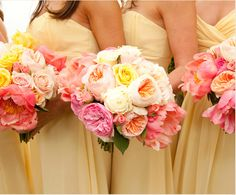 Beautiful bridesmaid bouquets by Sayles Livingston Flowers.