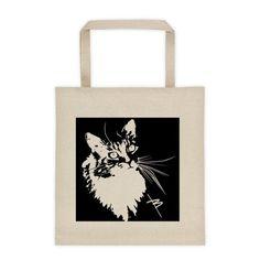 ALI CAT tote. Cat design for a tote. See more totes at www.boesarts.com