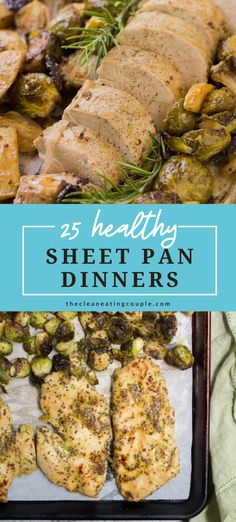 These 25 Healthy Sheet Pan Dinners are perfect for busy weeknights. Paleo, gluten free, and simple to make - these one pan meals are delicious and easy! Low carb to whole30, vegetarian, shrimp, chicken, and sausage - these easy meals are for everyone! #paleo #sheetpan #sheetpandinner #healthy Easy Clean Eating Recipes, Easy Meals, Balsamic Chicken Pasta, Veggie Fajitas, Recipe Sheets, Recipe Cover, Fish Dinner, Healthy Gluten Free Recipes, Kitchen Recipes