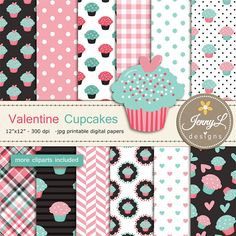Valentine Cupcakes Digital papers and clipart by JennyLDesignsShop