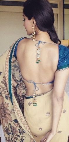 #Saree, backless Blouse, Love the color combination & details