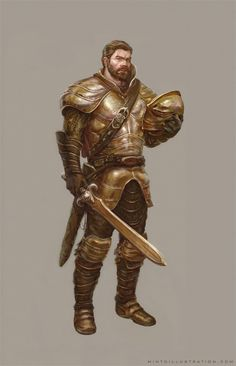 male fighter brown hair and beard, great sword