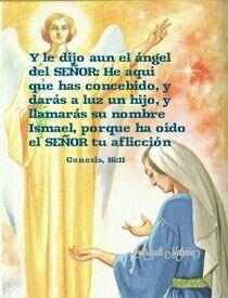 Génesis, 16:11 - Y le dijo aun el ángel del SEÑOR: He aquí que has concebido, y darás a luz un hijo, y llamarás su nombre Ismael, porque ha oído el SEÑOR tu aflicción.