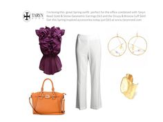 This Spring outfit for work looks great and is perfectly paired with Taryn Reed Gold & Stone Geometric Earrings just $63 http://tarynreed.com/?product=gold-stone-geometric-hoop-earrings