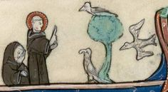 St Francis preaching to (bored) birds @BibValenciennes, MS 838
