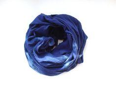Indigo blanket scarf, indigo oversized scarf, dark blue scarf, navy scarf, tie dyed blue scarf, dyed indigo scarf, indigo cotton scarf